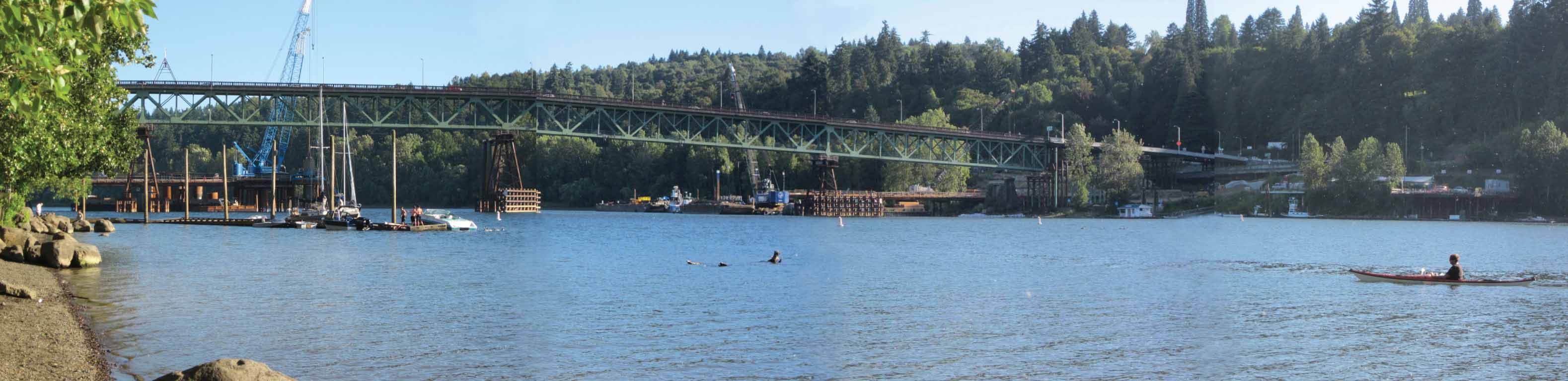 Panorama of Sellwood Bridge under construction, taken from Sellwood Riverfront Park, 7/8/2013. (Click for larger image)