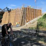 Concrete pour for the eastside bridge landing