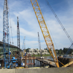 South side construction area showing all seven active construction cranes