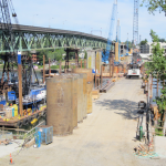 A view onto the Westside temporary construction deck