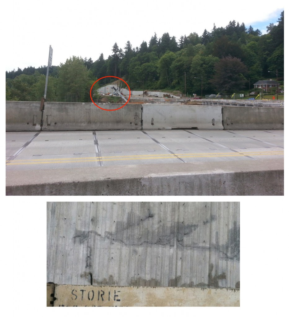You may have heard a report from OPB that some of the concrete used in the bridge needed to be removed and replaced.  It could have been a large and scary error, but wasn't.  The concrete in question was used far down the west bank retaining wall.  The top picture shows the area in question (in the red circle) and the bottom picture is a closeup of the concrete repair (in progress).  When it's done, it will look as good as new.  Problem solved!