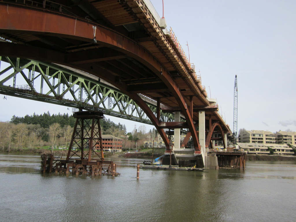 View under the middle arch from the west work bridge.