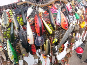 A closeup of some of the beautiful lures
